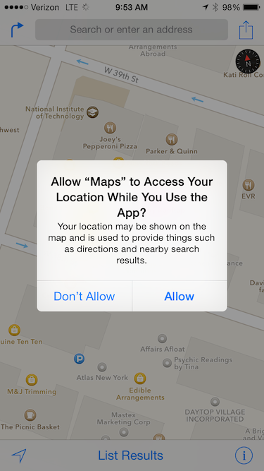 Maps asking for permission in iOS 8